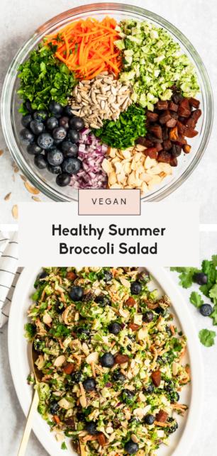 collage of healthy broccoli salad