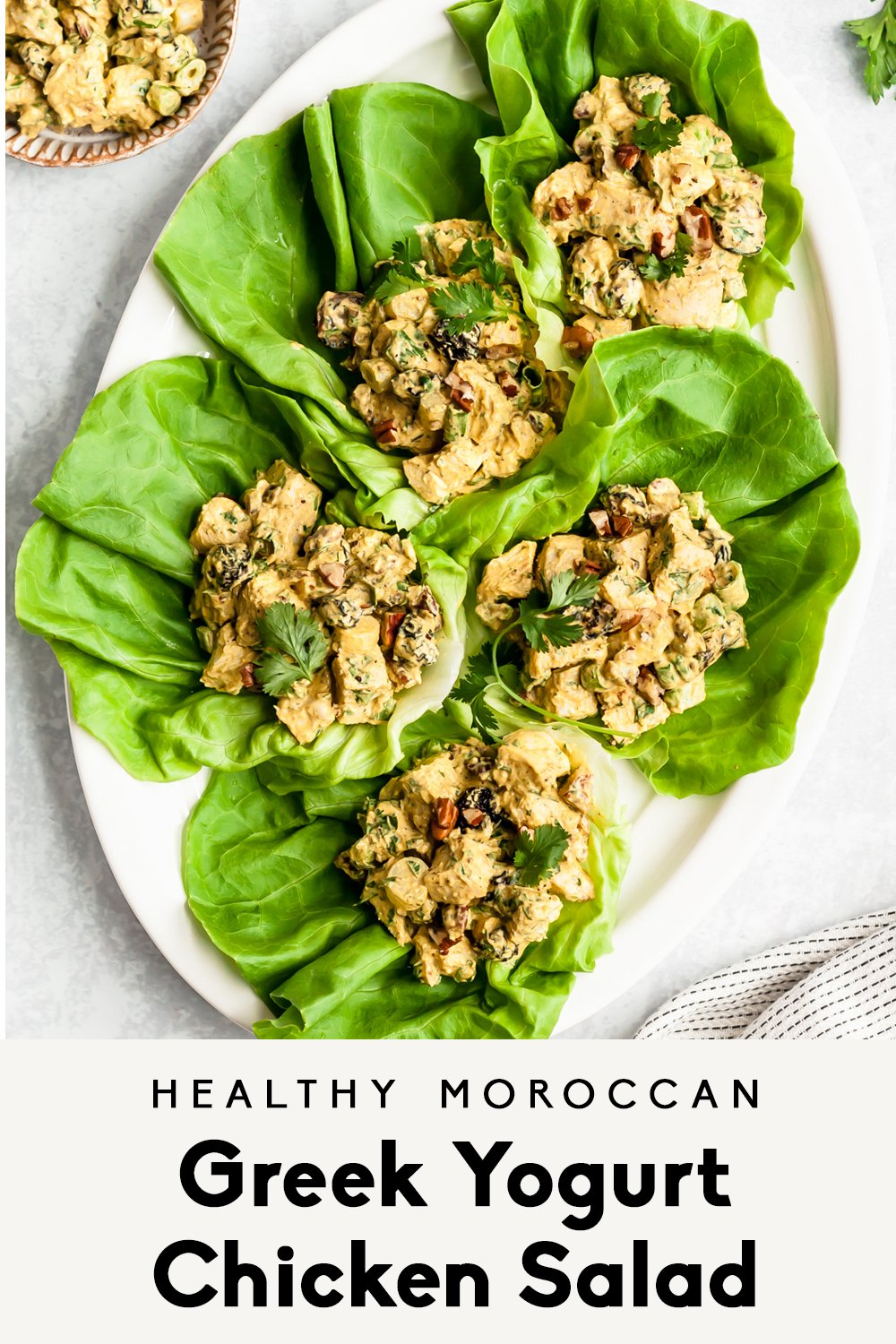 healthy greek yogurt chicken salad in lettuce wraps with text overlay