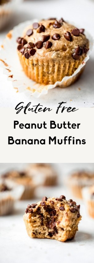collage of healthy peanut butter banana muffins