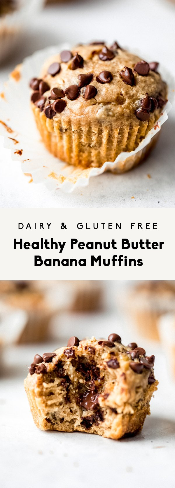 collage of healthy peanut butter banana muffins with text overlay