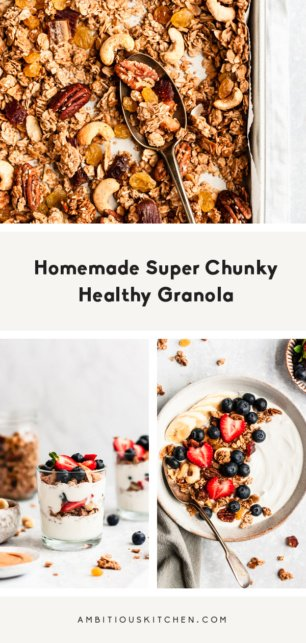 collage of homemade chunky healthy granola