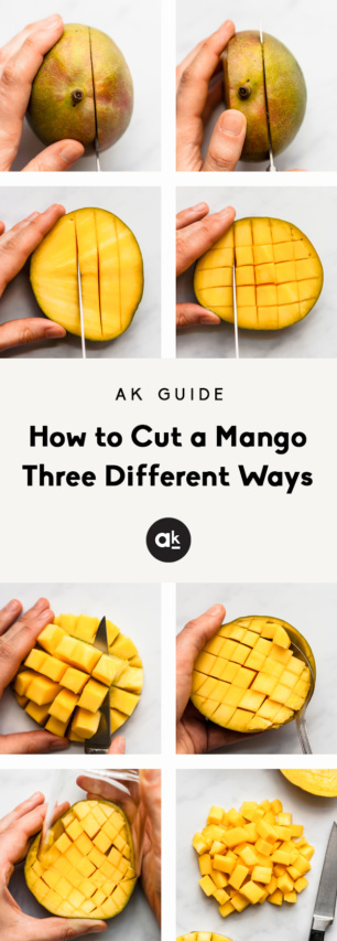 collage of how to cut a mango with text overlay