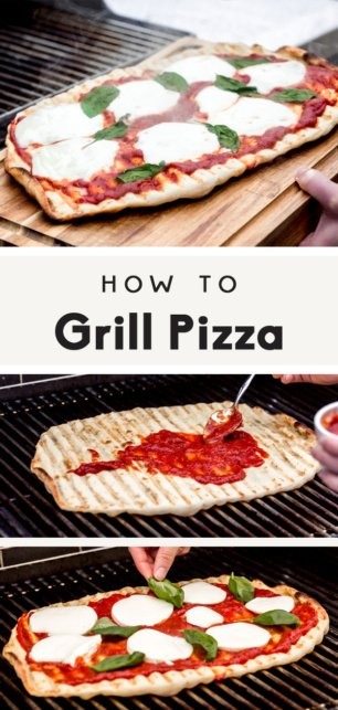 collage of how to grill pizza with text overlay