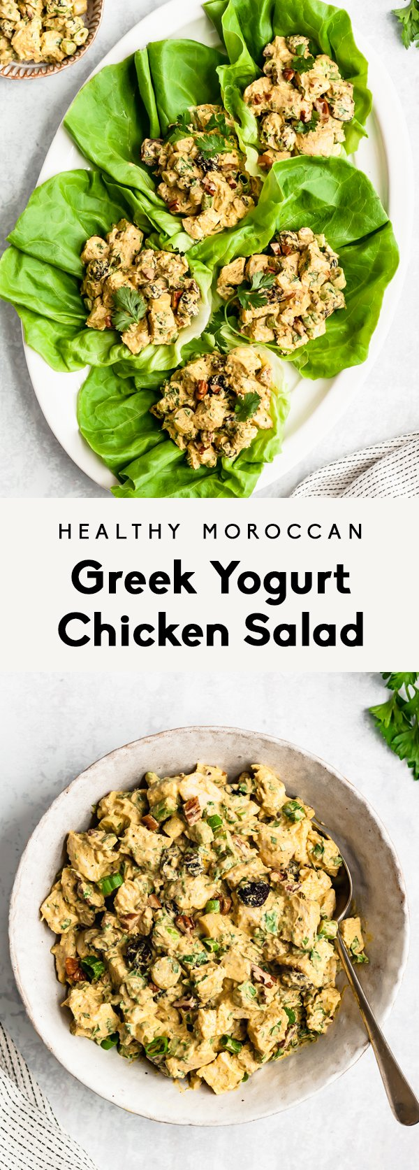 collage of healthy greek yogurt chicken salad in a bowl and in lettuce wraps