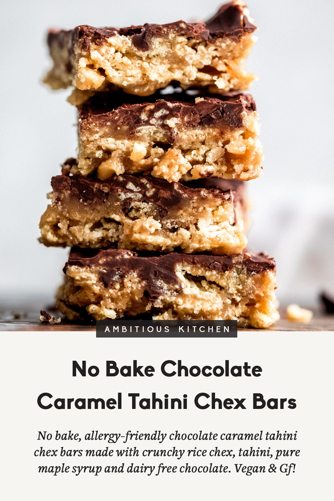 no bake chocolate caramel tahini chex bars in a stack with text underneath