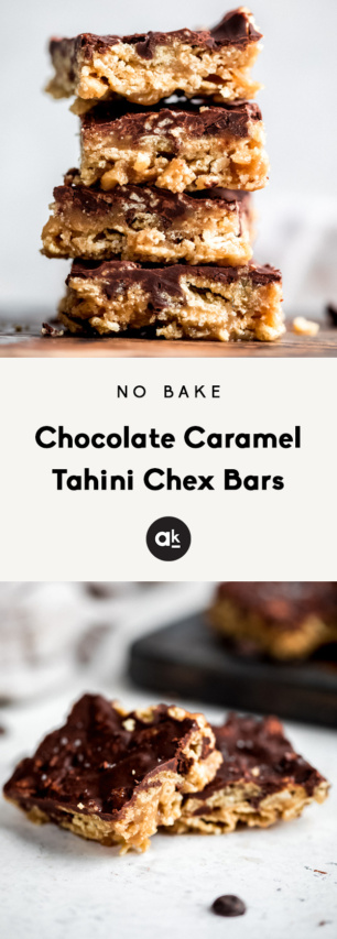 collage of chocolate caramel tahini chex bars with text overlay