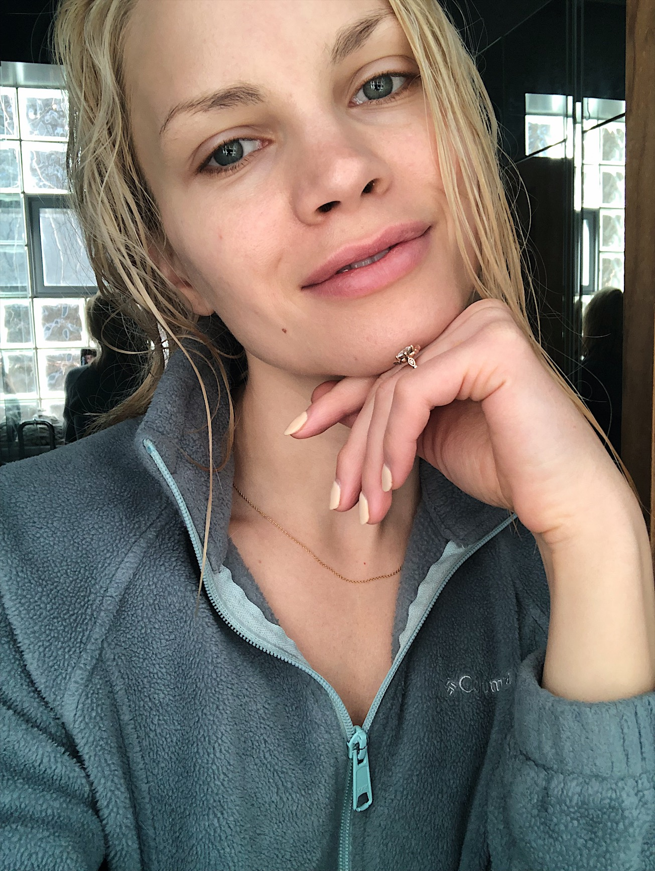 girl with no makeup on after oil cleansing