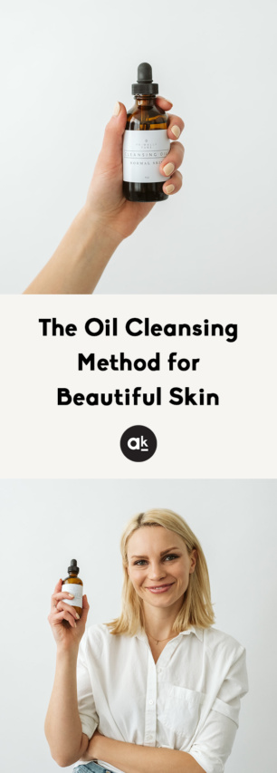 collage of the oil cleansing method with text overlay