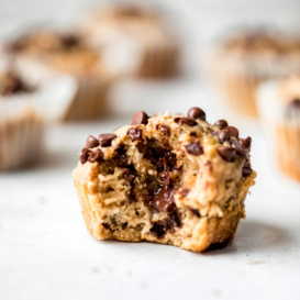 peanut butter banana muffin with a bite taken out