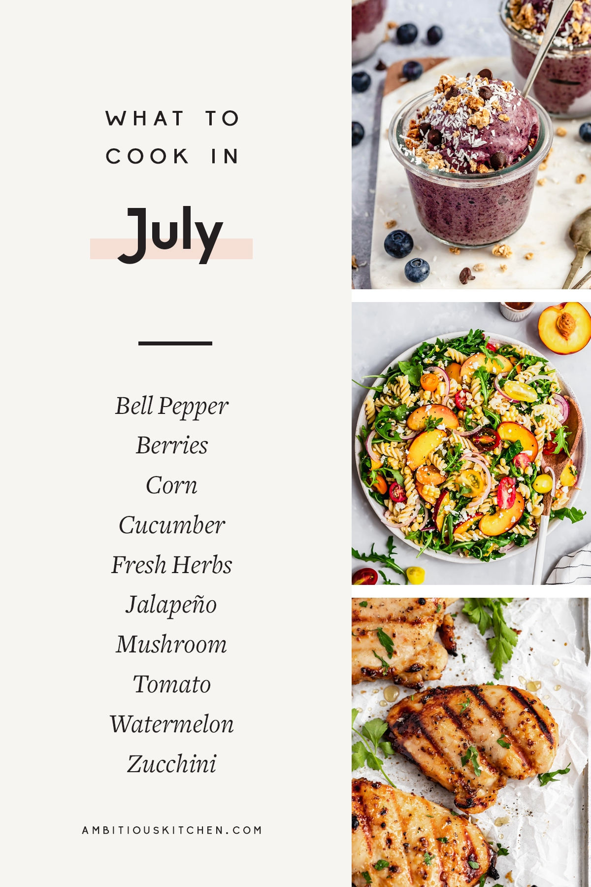 collage of recipes to cook in july