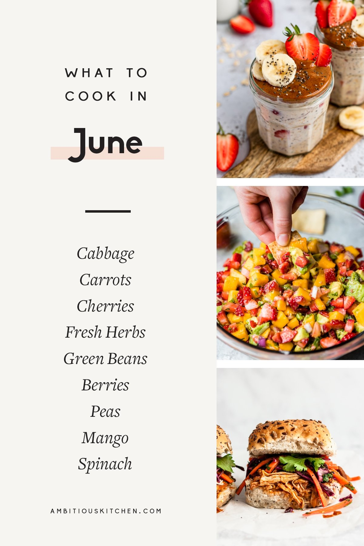 collage of recipes to cook in June
