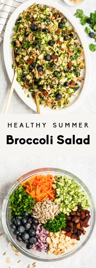 collage of healthy broccoli salad with text overlay
