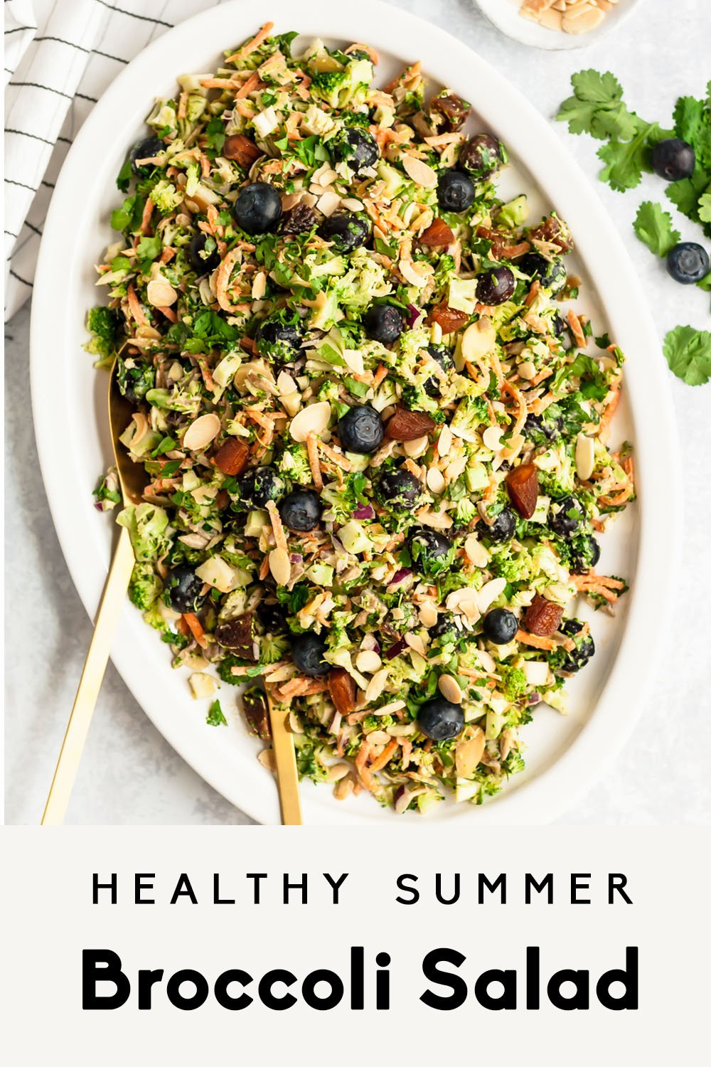 healthy broccoli salad on a platter with text overlay