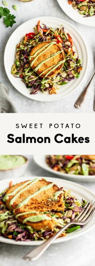 collage of healthy sweet potato salmon cakes