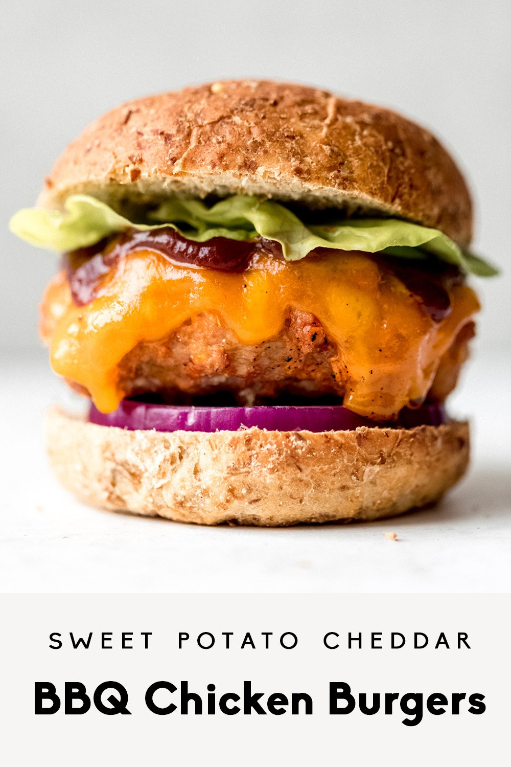 bbq chicken burger with lettuce, cheddar, and bbq sauce with text overlay