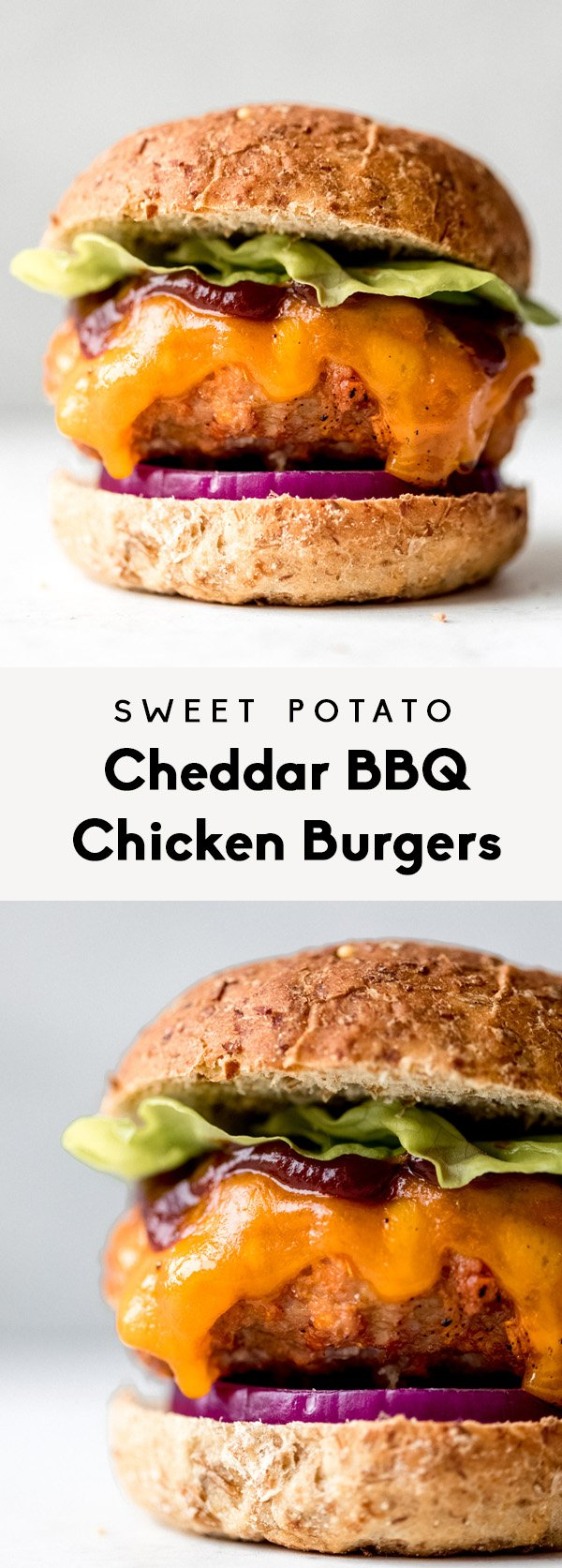 collage of sweet potato cheddar bbq chicken burgers with text overlay