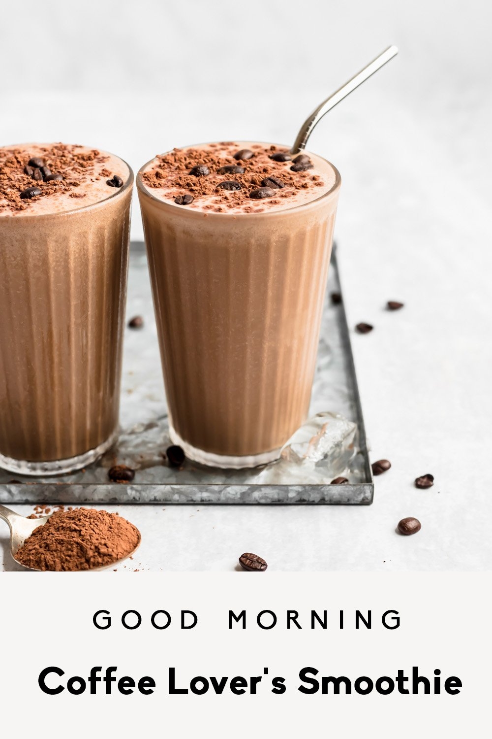 coffee smoothie in two glasses with text overlay