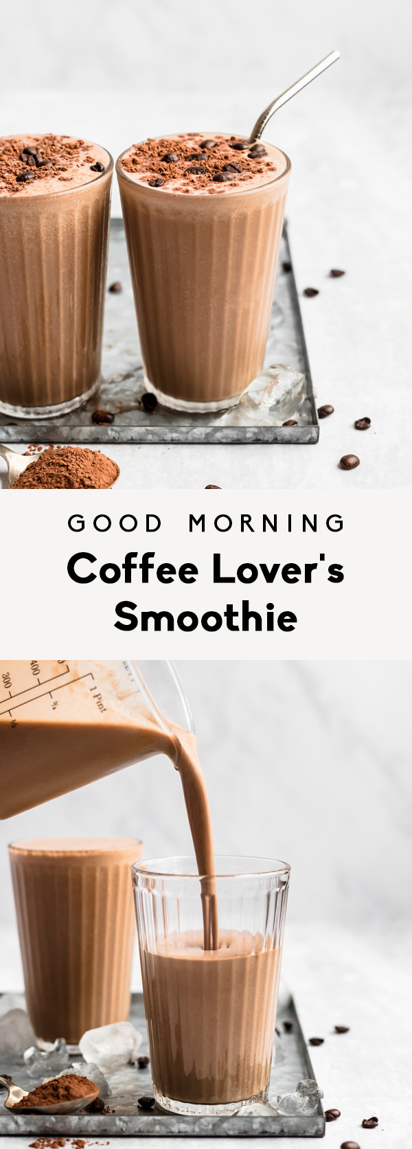 collage of a coffee smoothie with text overlay
