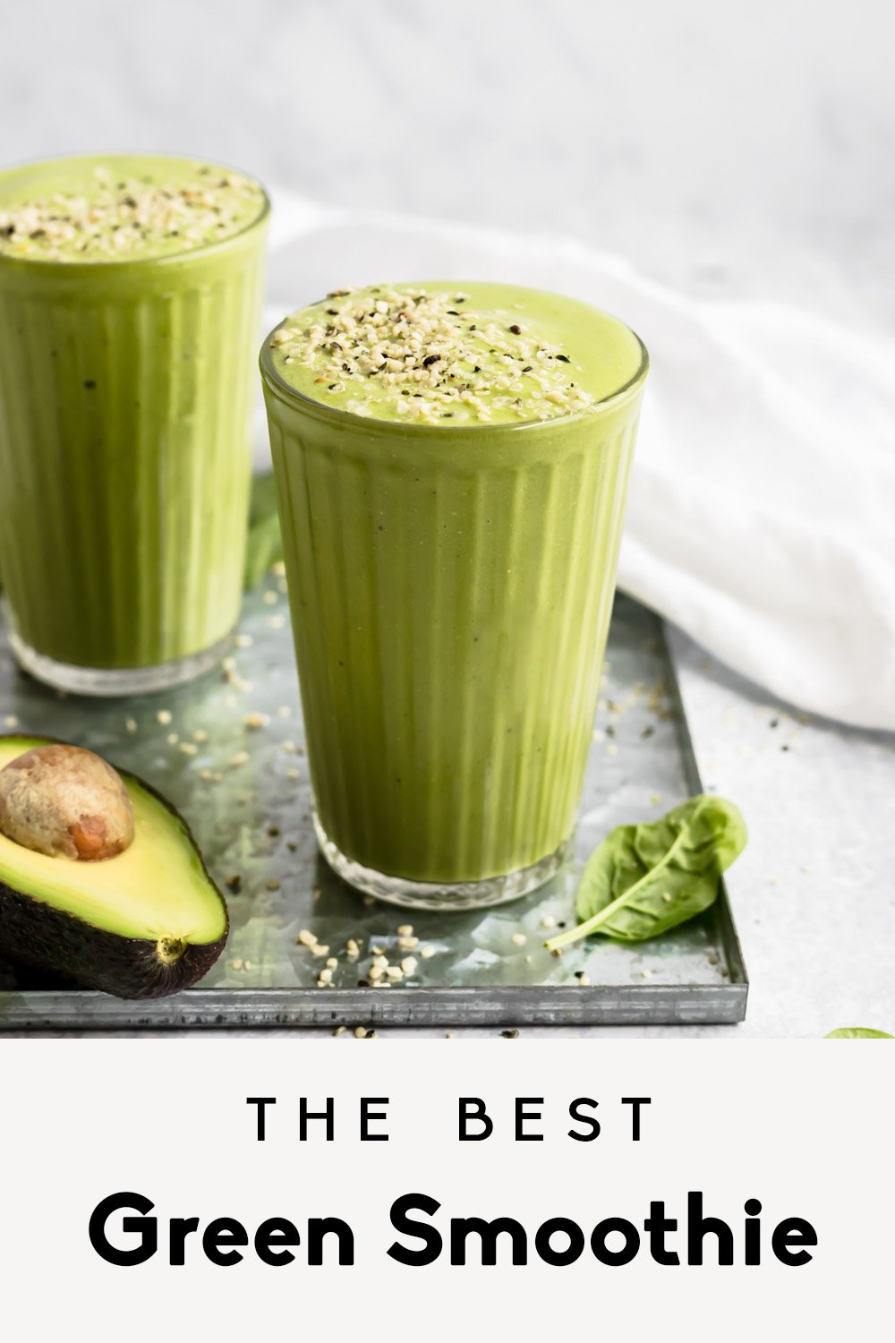 green smoothie photo with text overlay