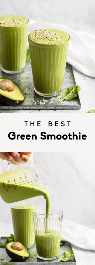 collage of the best green smoothie recipe