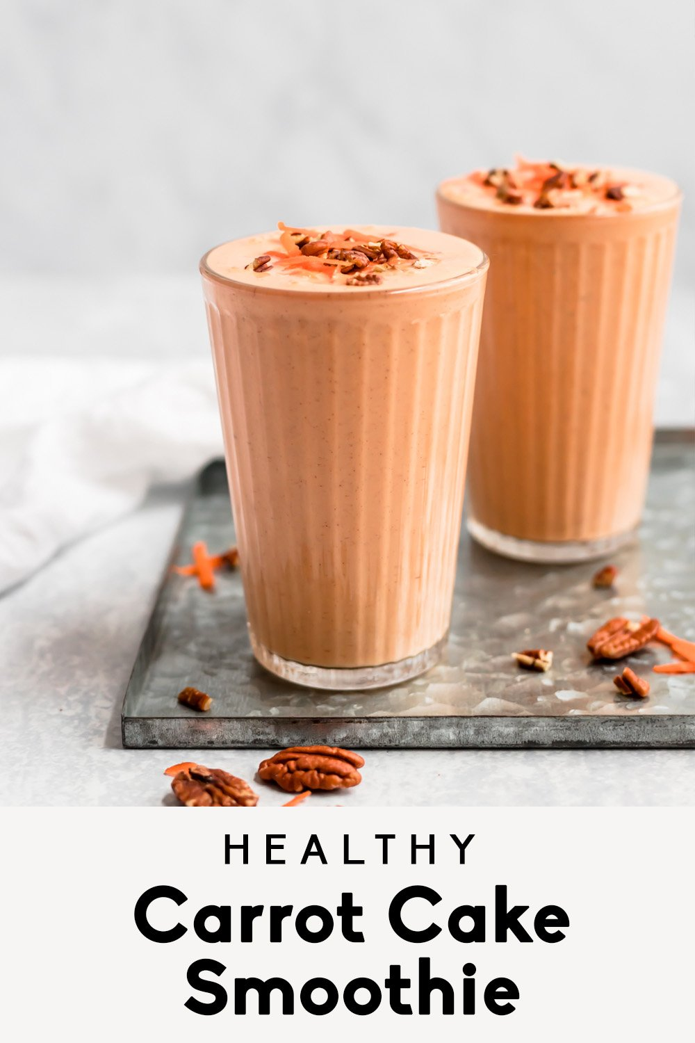 carrot cake smoothie with text overlay