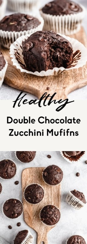 collage of healthy chocolate zucchini muffins