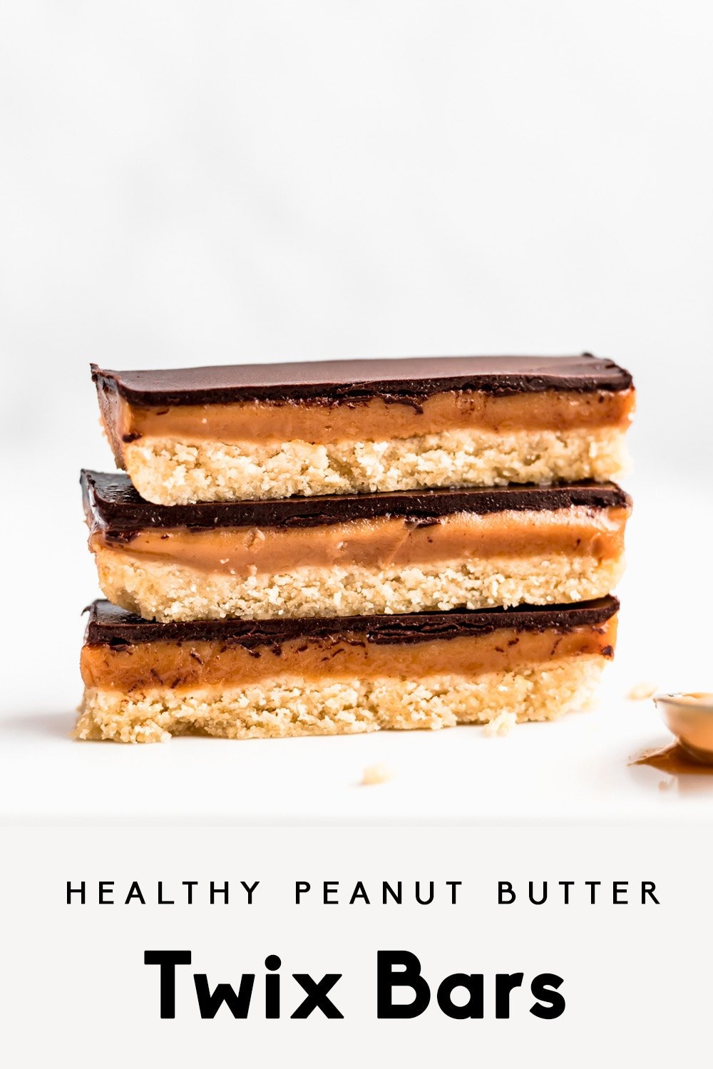 healthy peanut butter twix bars in a stack