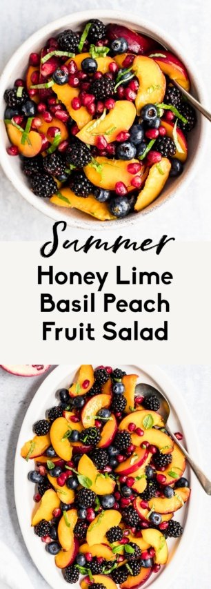 collage of summer peach fruit salad