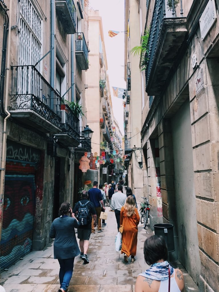 people walking in the streets of barcelona
