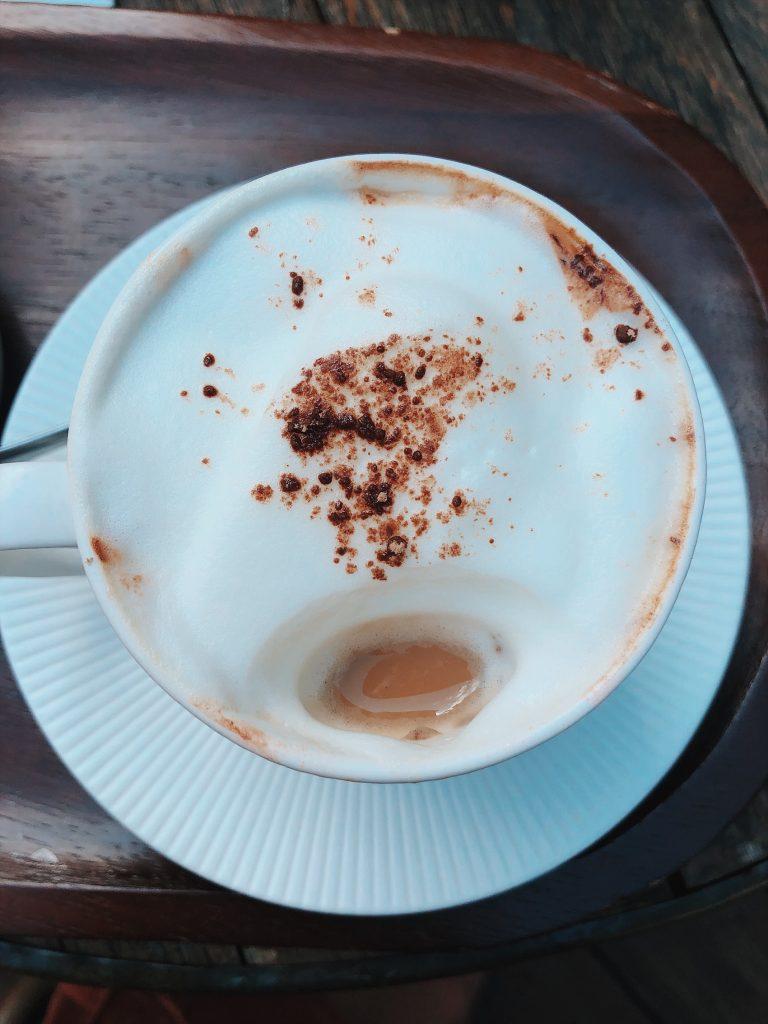 latte in a white mug