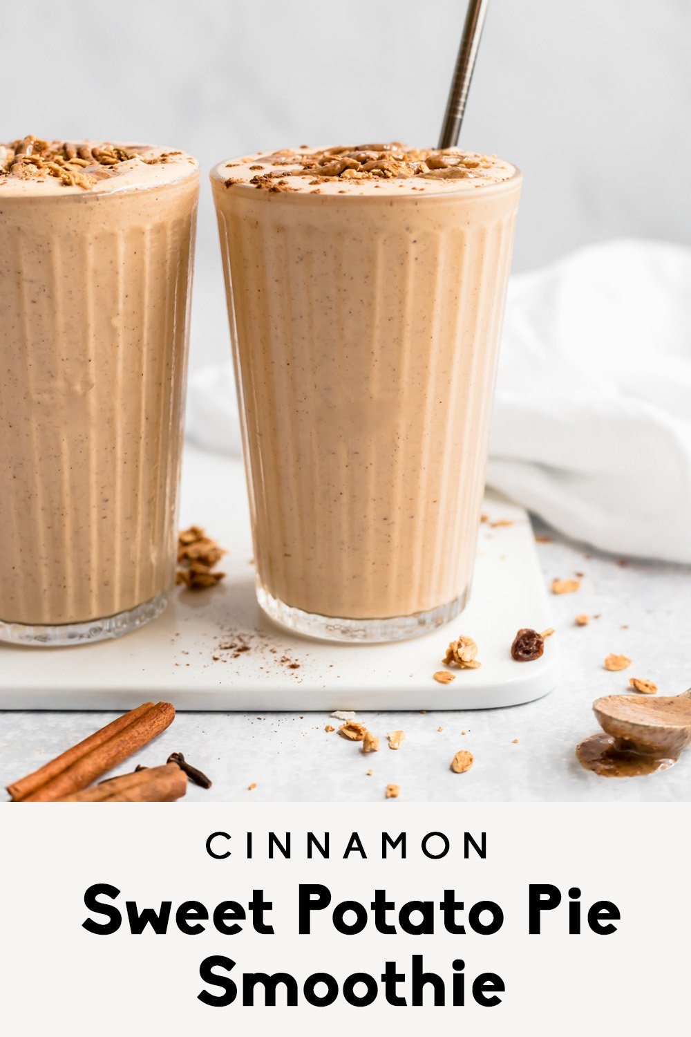 sweet potato smoothie with text overlay