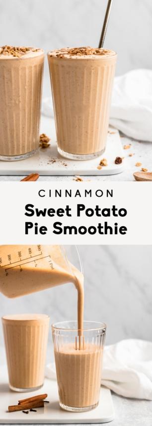 collage of a sweet potato pie smoothie