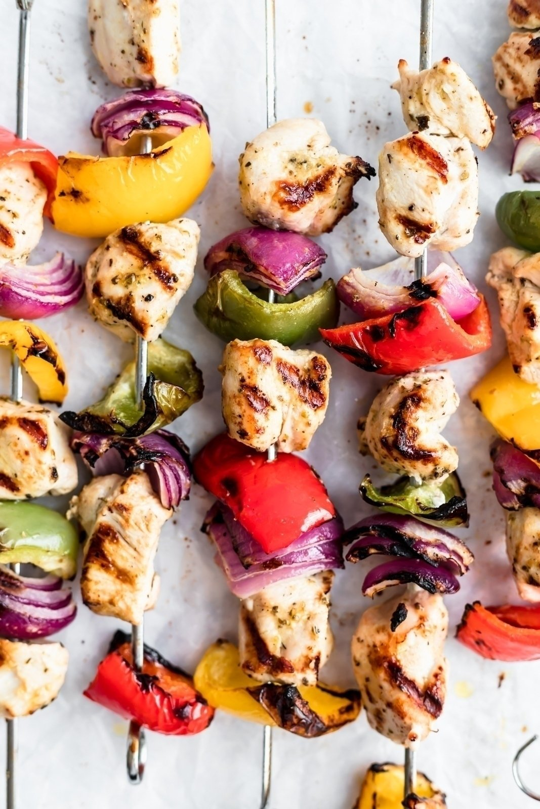 greek chicken kabobs on skewers