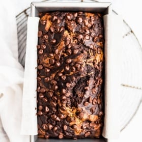 chocolate zucchini banana bread in a loaf pan