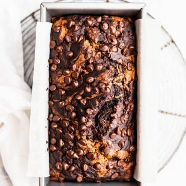 chocolate zucchini banana bread in a loaf pan