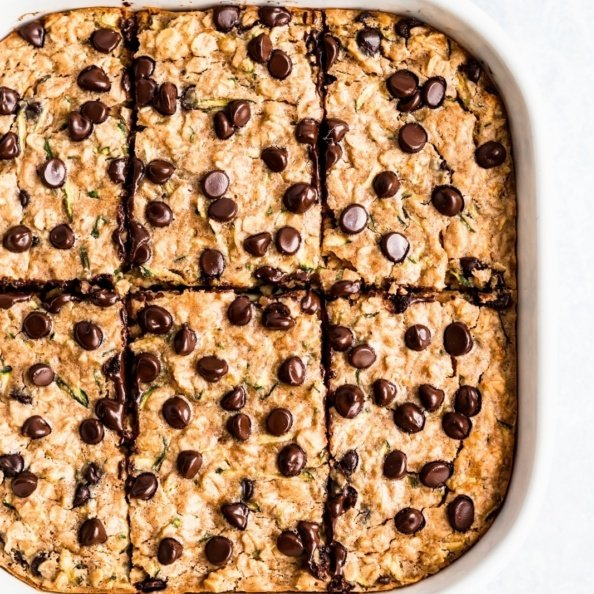 zucchini bread baked oatmeal in a square baking dish