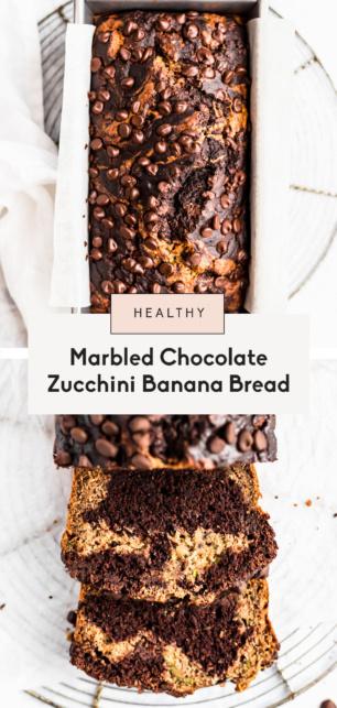 collage of chocolate zucchini banana bread