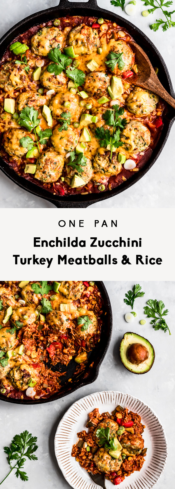 enchilada zucchini turkey meatballs and rice collage