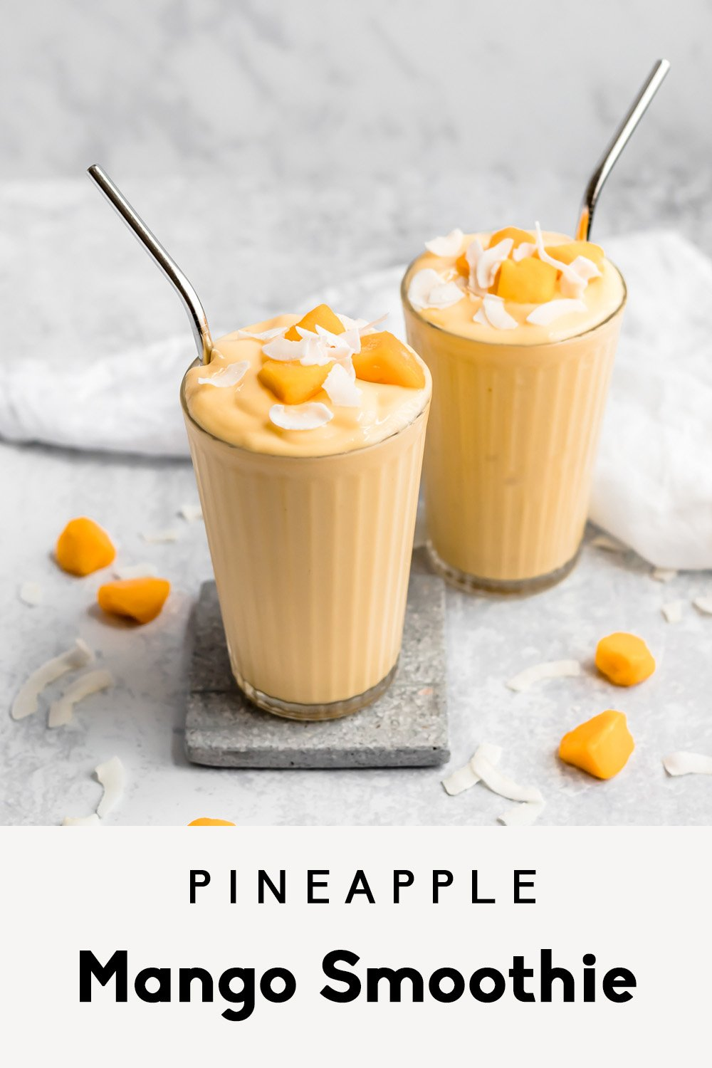 pineapple mango smoothie in two glasses