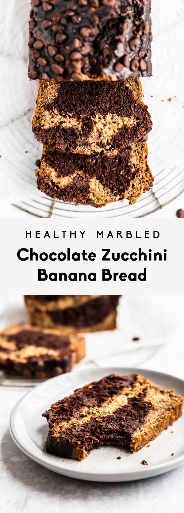 collage of chocolate zucchini banana bread sliced and on a plate