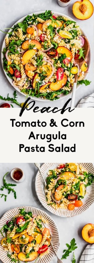 collage of peach arugula pasta salad