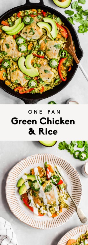 collage of green chicken and rice