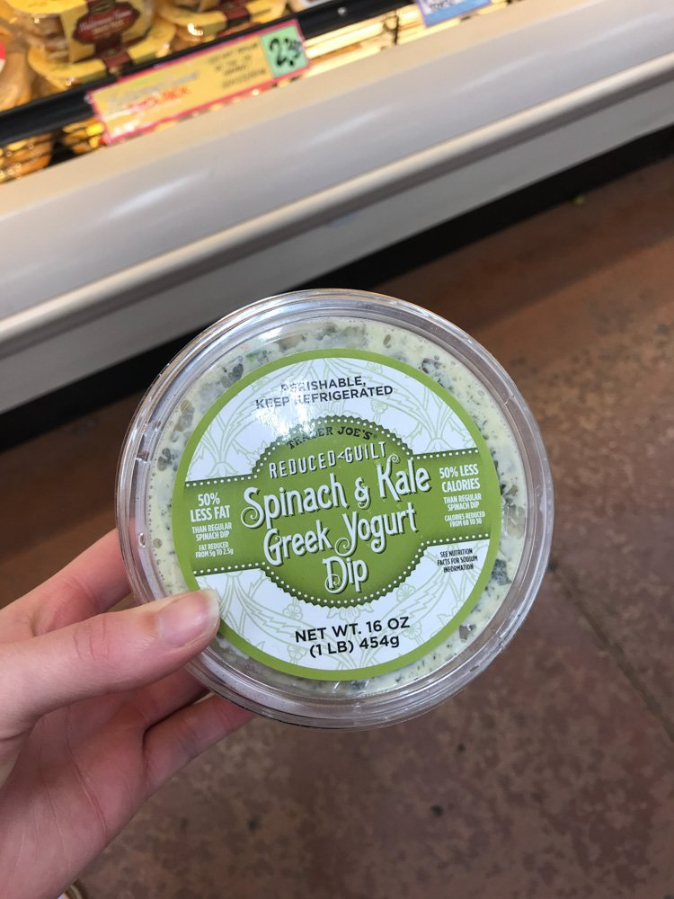 container of spinach & kale greek yogurt dip