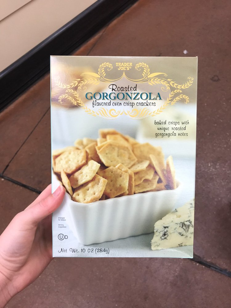 box of roasted gorgonzola crackers
