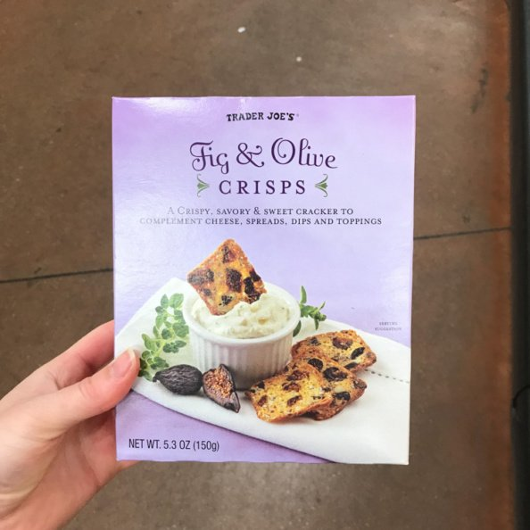 box of fig & olive crisps