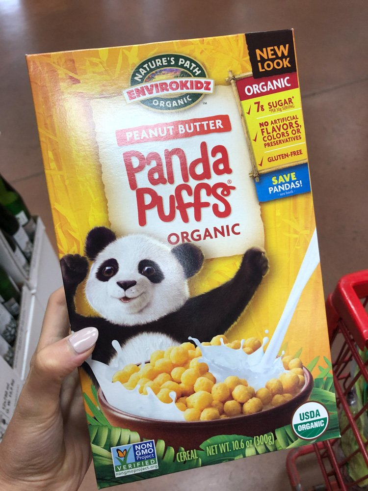 box of panda puffs cereal