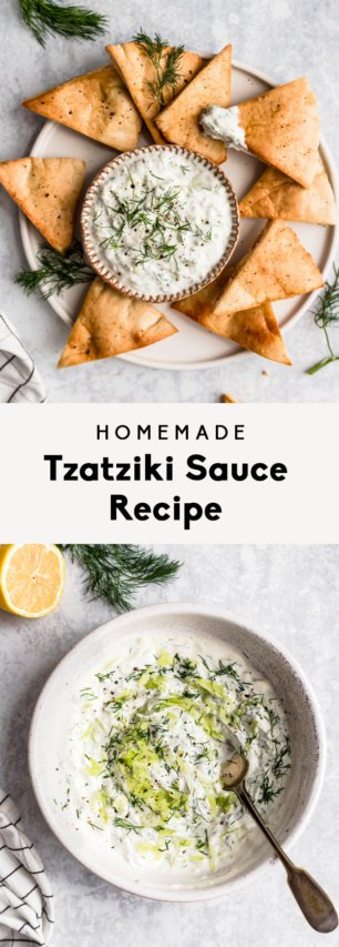 collage of homemade tzatziki sauce recipe