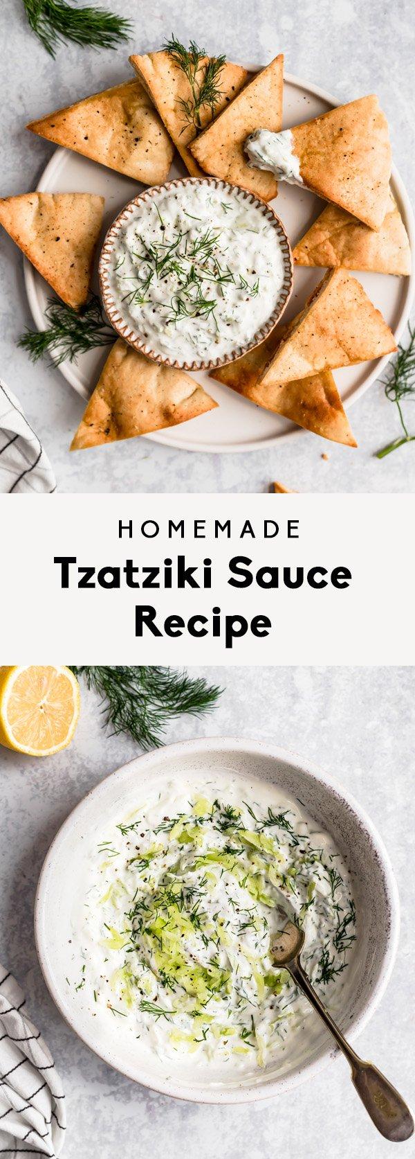 collage of how to make homemade tzatziki sauce