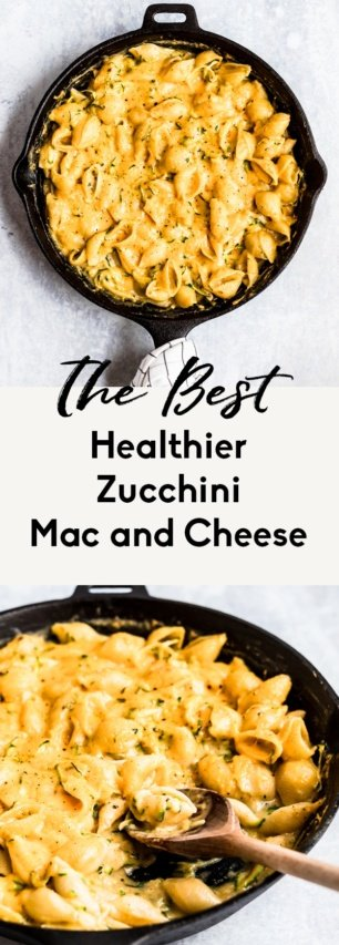 collage of healthier zucchini mac and cheese