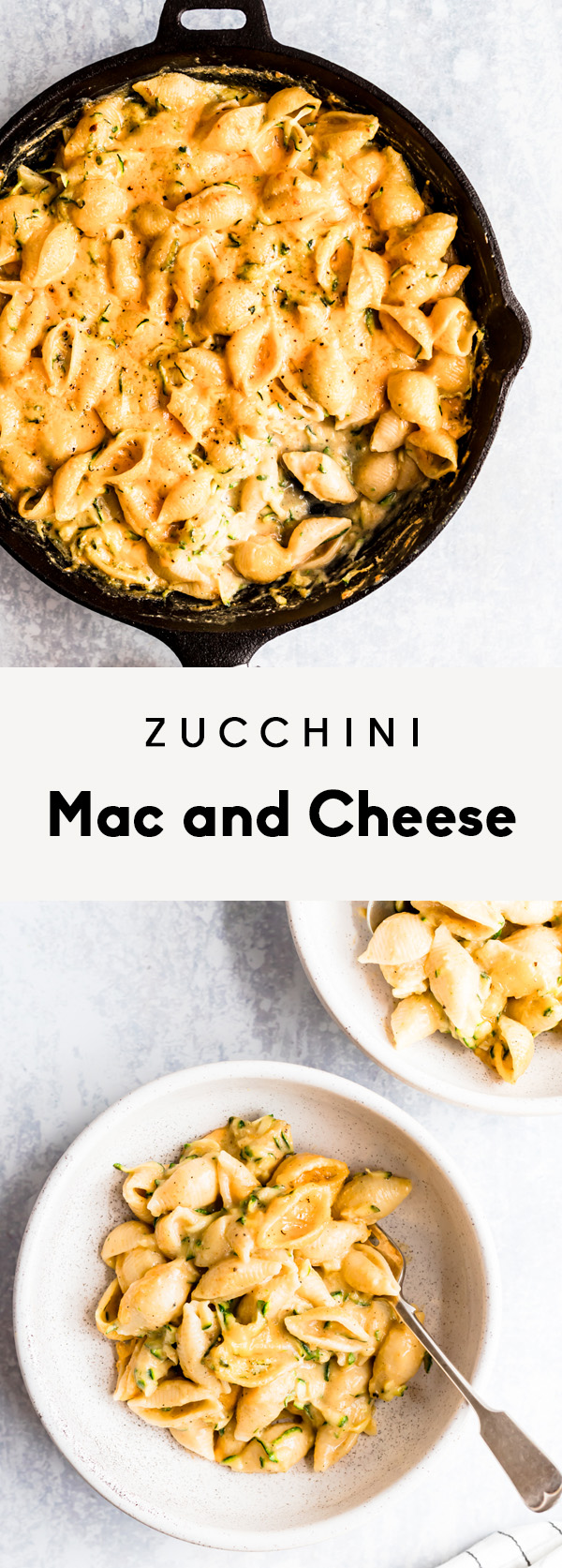 collage of zucchini mac and cheese in a skillet and in two bowls